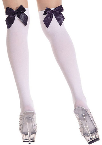 Music Legs 5572 Opaque Overknee with satin bow Over-knee Special Offer  / Strumpbyxor.com