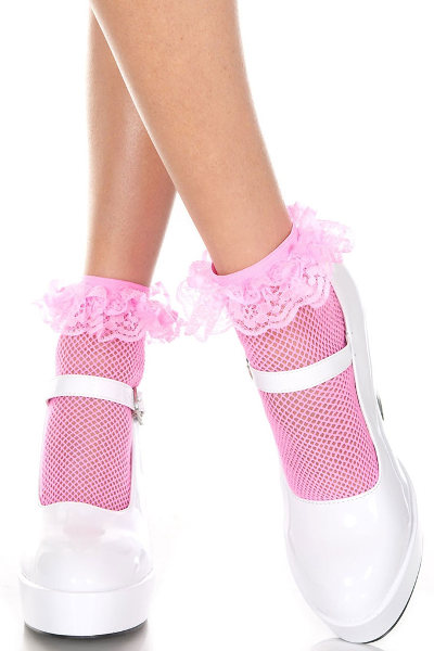 Music Legs Ruffle trim Socks Fishnets / Strumpbyxor.com