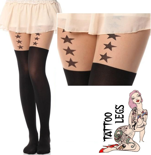 Tattoo Legs Stars Tights Fashion ranges / Strumpbyxor.com