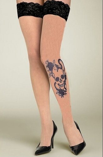 Tattoo Legs Skull Stay-ups Fashion ranges / Strumpbyxor.com